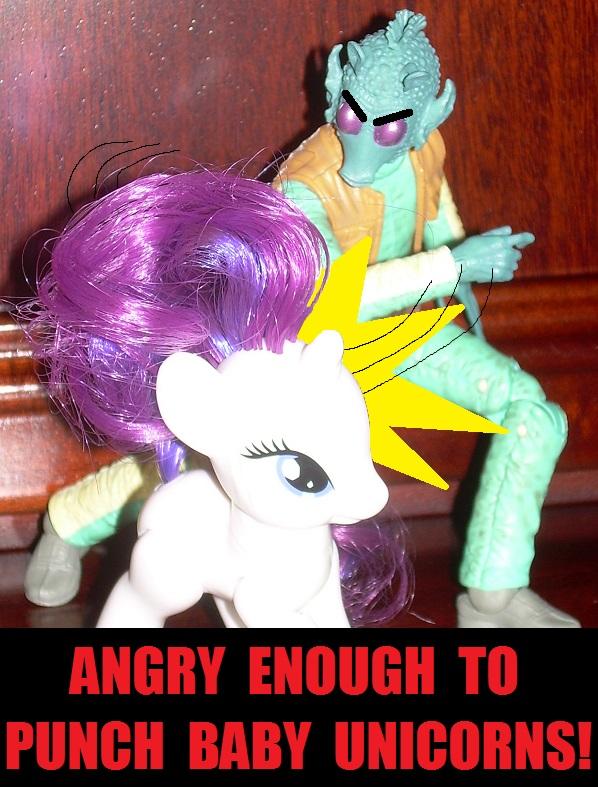 Beedo angrily punching My Little Pony baby unicorn